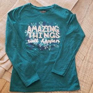 Cat & Jack NWOT forest green long sleeve T 10/12